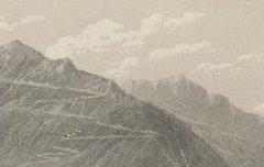 Les Pyrénées : Ville d'Arreau et Col d'Aspin - Vue prise au dessus de la route de Bagnères de Luchon – Petit, Victor – s. d. - lithographie - Médiathèque André Labarrère Pau – cote C5625R