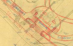 Aménagement de l'entrée du Jardin public au carrefour Poeymirau-Barèges – env. 1900 – plan - Archives communautaires Pau-Pyrénées – cote 4Fi72