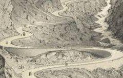 Cauterets : Grande route de Cauterets - Vue prise à la côte du Limaçon - PETIT, Victor / Thierry frères / Auguste Bassy – 19e siècle – lithographie - Médiathèque André Labarrère Pau – cote 31231R