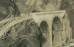 Route aux Eaux Chaudes Pyrénées – anonyme – s. d. - lithographie - Musée des Beaux-Arts Pau – cote 2007.0.94
