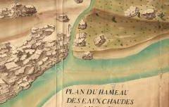 Plan du Hameau des Eaux-Chaudes dans la Vallée d'Ossau – Desfirmins – 1780 – plan - Archives départementales 64 – cote FRAD064009-1FI51