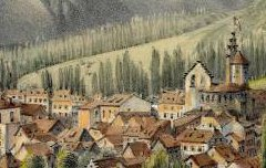 Luz en regardant la Vallée de Barèges (Htes Pyrénées) - PARIS, Edouard / Thierry Frères – 19e siècle – lithographie - Médiathèque André Labarrère Pau – cote 240448
