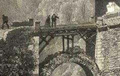 Les Pyrénées : Pont de Sia - Route de St Sauveur à Gèdre et Gavarnie - CICERI, Eugène / Goupil & Cie / Lafont / Becquet - 19e siècle - lithographie - Médiathèque André Labarrère Pau – cote Ee3211