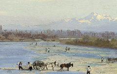Le Gave de Pau et le pic de Midi de Bigorre – Galos, Victor - 2e moitié 19e siècle - tableau, huile sur bois - Musée des Beaux-Arts Pau – cote 876.8.18