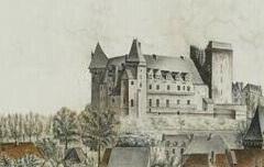 Le château d'Henri IV à l'extrémité de la ville de Pau - Jean-Baptiste Chiche - 1822 - aquarelle, gouache, plume et encre noire, papier vergé beige-gris  - Musée des beaux Arts de Pau - cote DP. 89.2.1.
