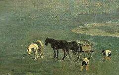 Le Gave devant les haras de Gelos - Victor Galos - 2e moitié du 19e siècle - peinture, huile sur toile - Musée des Beaux Art de Pau - cote 889.6.2.