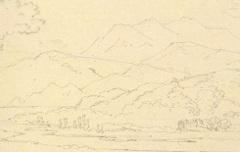 Vue sur les Pyrénées - Houbigant, Armand-Gustave - 2e moitié du 19e siècle - dessin au crayon (extrait de Journal d'un voyage de Paris aux Eaux-Bonnes) - Médiathèque André Labarrère Pau - cote MI34