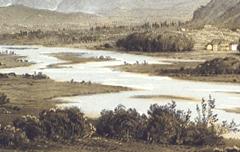Panorama des Pyrénées: coté du Pic du Midi de Pau, vue prise de la place Royale à Pau - Victor Petit - 19e siècle - lithograhie en couleurs - Musée des Beaux Arts Pau - cote 30.6.5-24 (04)
