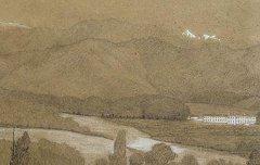 Les Pyrénées et le haras de Gelos - Henri de Triqueti - 19e siècle - dessin à la mine de plomb rehaussé de gouache et de pastel - Musée des Beaux Arts Pau - cote 887.6.25
