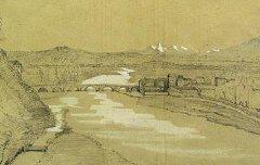 Les Pyrénées vues du parc de Pau  - Henri de Triqueti - 1849 - dessin à la mine de plomb rehaussé de gouache - Musée des Beaux Arts Pau - cote 887.6.1