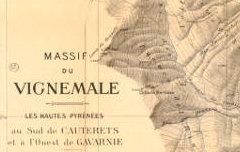 Massif du Vignemale. Echelle 1 / 20.000 - Meillon, Alphonse / Larminat, E. de / Gaurier, L./ Institut Cartographique Paris – 1935 – carte - Médiathèque André Labarrère Pau – cote 220547